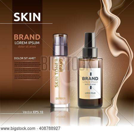 Skin Toner And Oil Vector Realistic. Bb Cream. Product Packaging Designs. Background Lotions Splash