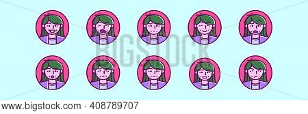 Set Of Mommy Emoticon Cartoon Icon Design Template With Various Models. Modern Vector Illustration I
