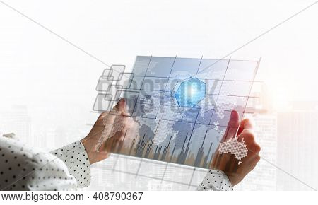 Businesswoman Hands Using Virtual Interface. Digital Marketing Media Or Financial Diagrams In Virtua