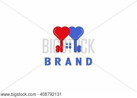 Key Housing Logo. Two Heart Shaped Keys Combined Into A House Logo. A Heart That Symbolizes Harmonio