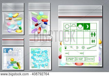 Set Of Transparent Plastic Zipper Bag Or Empty Plastic Polythene Container Or Mock Up Sealed Medicin
