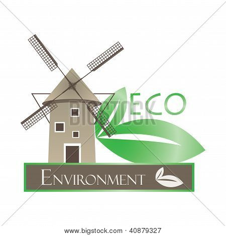 Illustration Of Windmill And Eco Leaves On White Background