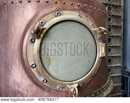 Close Up Of A Copper Alcohol Distillery Brewing Still