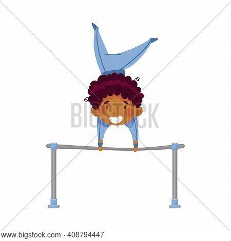 Little African American Boy Doing Gymnastics Tumbling On Horizontal Bar Vector Illustration