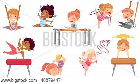 Little Boy And Girl Doing Gymnastics With Pommel Horse And Parallel Bars Vector Set