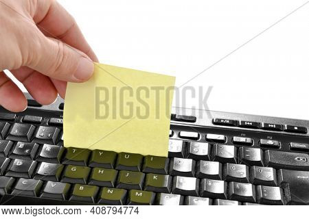 Lifehack; Adhesive notes keyboard cleaner.    Before you throw away an adhesive note, run it between the keys on your keyboard to collect crumbs and fluff