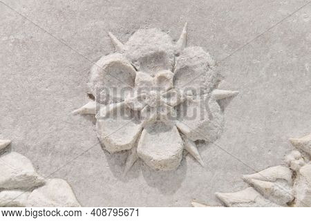 Sevastopol, Crimea - January 31, 2021: Fragment Of A Flower Pattern On An Antique Marble Ancient Gre