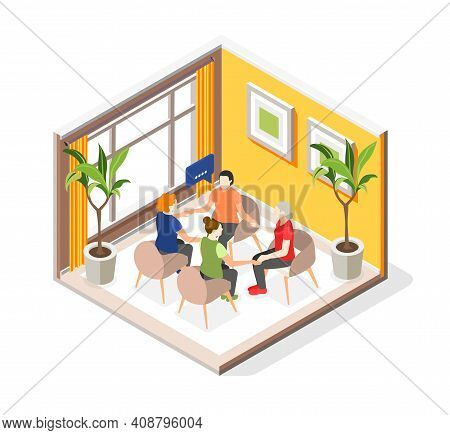 Mutual Help Isometric Concept With Psychological Assistance Symbols Vector Illustration