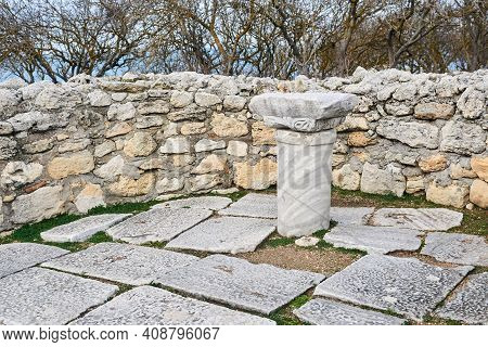 Christian Altar Made From A Pagan Temple Column In The Ruins Of An Ancient Basilica