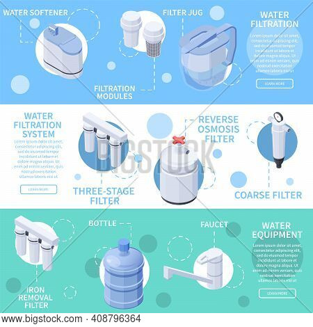Water Filtration Isometric Horizontal Banners Set With Filters Faucet Bottle 3d Isolated Vector Illu