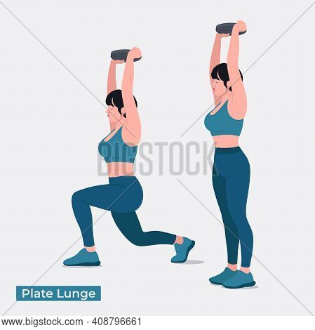 Plate Lunge Exercise, Women Workout Fitness, Aerobic And Exercises. Vector Illustration.