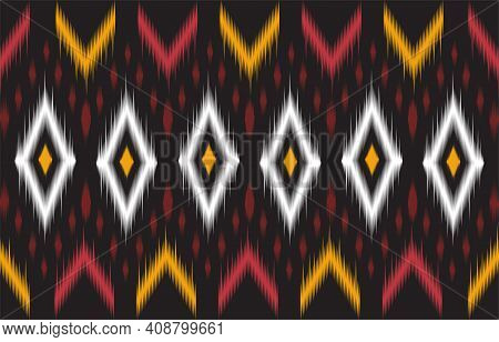 Abstract Black And Red Geometric Native Pattern Seamless Vector.repeating Geometric Background.moder