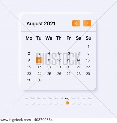 Ui Calendar Concept For August Month. Mobile And Web Interface. Widget With Neumorphism Design. Vect