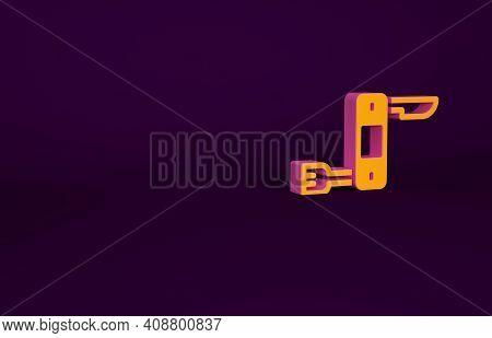 Orange Swiss Army Knife Icon Isolated On Purple Background. Multi-tool, Multipurpose Penknife. Multi