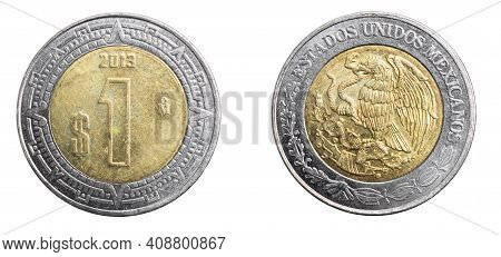 Mexicans One Peso Coin On A White Isolated Background