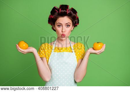 Photo Of Lovely Pretty Girlish Young Lady Roller Hairstyle Lips Hold Two Fresh Tomatoes Work Garden