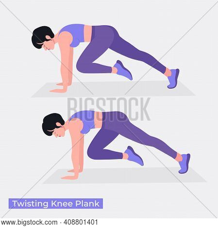 Twisting Knee Plank Exercise, Women Workout Fitness, Aerobic And Exercises. Vector Illustration.