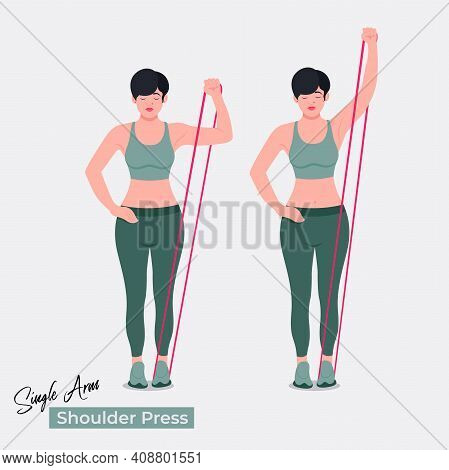 Shoulder Press Exercise, Women Workout Fitness, Aerobic And Exercises. Vector Illustration.
