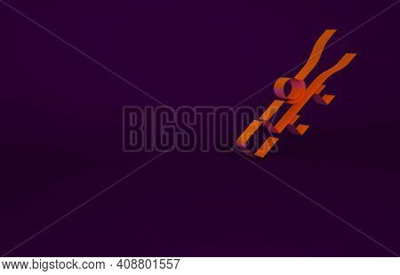 Orange Sniper Optical Sight Icon Isolated On Purple Background. Sniper Scope Crosshairs. Minimalism