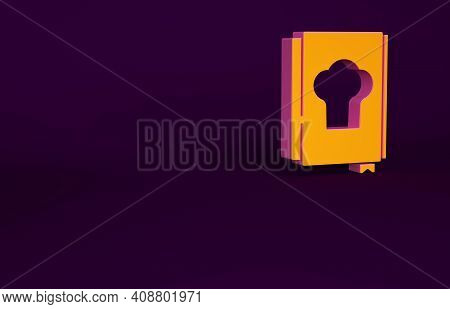 Orange Cookbook Icon Isolated On Purple Background. Cooking Book Icon. Recipe Book. Fork And Knife I