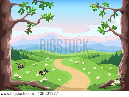 Fairytale Background With Trees, Butterflies, Flower Meadow, Mountains And Pink-blue Sky In Cartoon