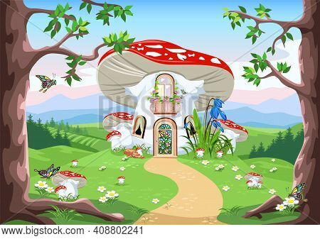 Vector Illustration Of A Mushroom House In A Fly Agaric With A Balcony, A Door And Windows Stands In
