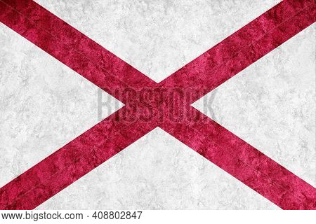 Metallic Alabama State Flag, Alabama Flag Background Metallic Texture