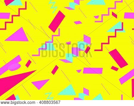 Memphis Seamless Pattern. Geometric Elements Memphis In The Style Of 80's. Background With  Isometri