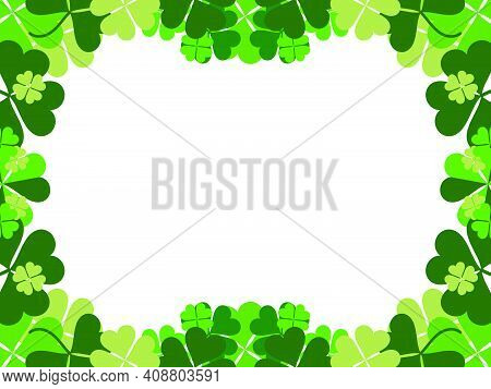 Clover Frame. St. Patrick's Frame With Shamrock. Borders With Four-leaf Clover. Design A Template Fo
