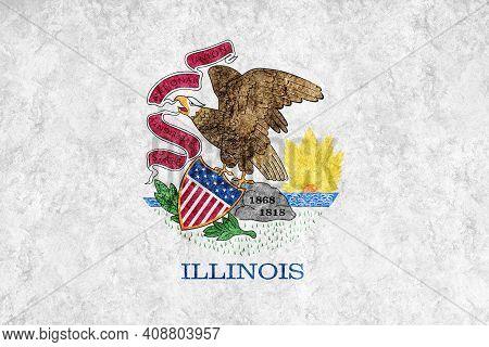 Metallic Illinois State Flag, Illinois Flag Background Metallic Texture
