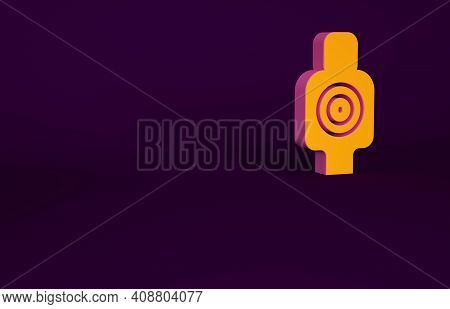 Orange Human Target Sport For Shooting Icon Isolated On Purple Background. Clean Target With Numbers