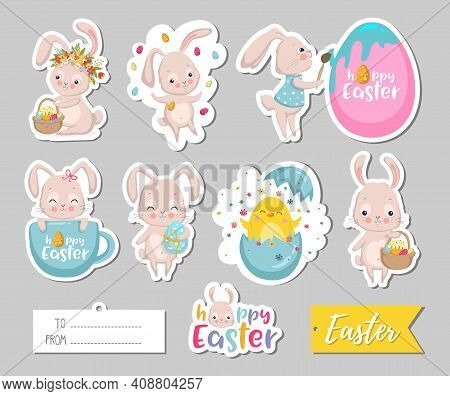 Set Of Easter Gift Tags, Scrapbooking Elements, Labels, Badges With Cute Bunnies And Lettering . Eas