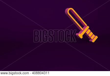 Orange Police Rubber Baton Icon Isolated On Purple Background. Rubber Truncheon. Police Bat. Police