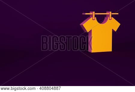 Orange Drying Clothes Icon Isolated On Purple Background. Clean Shirt. Wash Clothes On A Rope With C