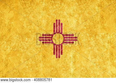 Metallic New Mexico State Flag, New Mexico Flag Background Metallic Texture