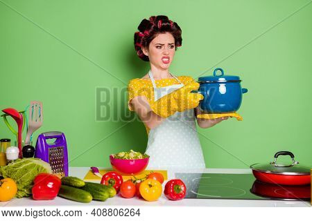 Portrait Of Her She Nice Attractive Mature Glamorous Housewife Cooking Meal Holding On Palm Hot Vega