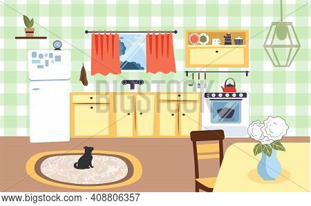 Kitchen Interior With Table, Cupboards, Dishes, Oven, Refrigerator, Window, Rug And Black Cat.  Flat