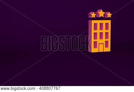 Orange Hotel Building Icon Isolated On Purple Background. Minimalism Concept. 3d Illustration 3d Ren