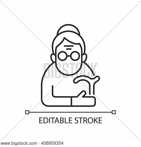 Female Pensioner Linear Icon. Senile Woman. Old-old Age. Aging Process. Person Aged 90-and-older. Th