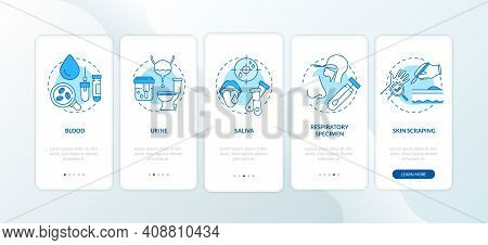 Laboratory Samples Onboarding Mobile App Page Screen With Concepts. Blood From Veins, Capillaries, B