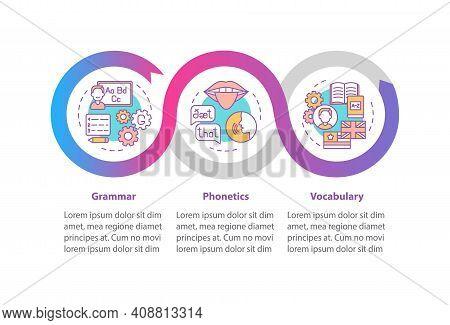 Language Study Vector Infographic Template. Grammar, Phonetics, Vocabulary Presentation Design Eleme