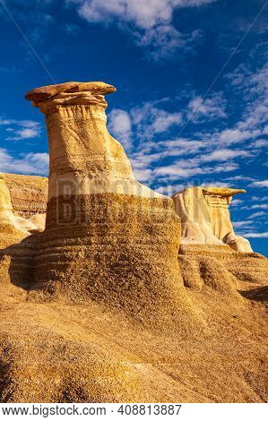 Hoodoos, A Geologic Formation On A Bright Day In The Badlands Near Drumheller, Alberta, Canada