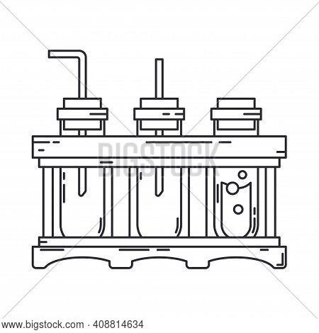 Line Medical Pharmaceutica Set Icon Flask, Tube. Professional Equipment Symbol. Science, Pharmacy, M