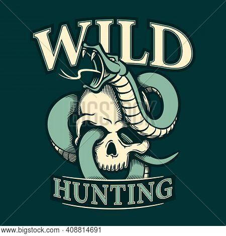 Snake Entwined Human Skull Wild Hunting Vector Illustration