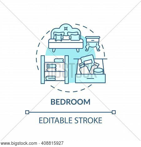 Bedchamber Concept Icon. Cleaning-out Idea Thin Line Illustration. Room For Sleep And Relax. Houseke