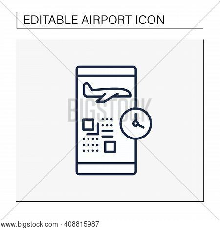 Digital Check-in Line Icon.passengers Confirm Their Presence On Flight Via Internet And Typically Pr
