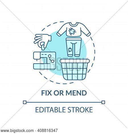 Fix Or Mend Concept Icon. Using Container For Shoes Need To Cleaned Idea Thin Line Illustration. Dec