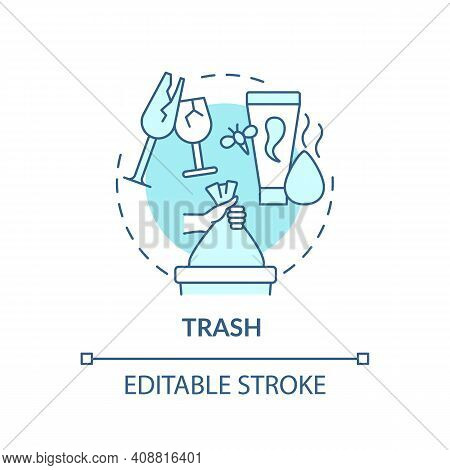 Rubbish Concept Icon. Throwing Things Up Idea Thin Line Illustration. Sorting And Tossing Items In H