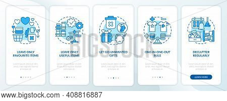 Decluttering Tips Oonboarding Mobile App Page Screen With Concepts. Home Cleaning-out And Declutteri