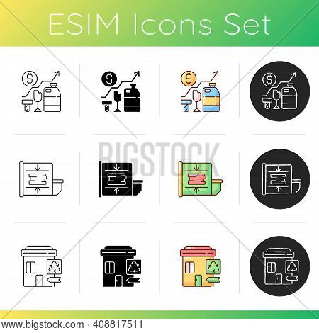 Trash Removal Icons Set. Trash Compactor. Waste Analytics. Landfill, Material Recovery Facility. Mec